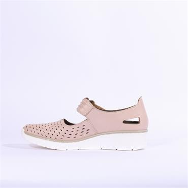 Rieker Perforated Velcro Strap Medano - Rose