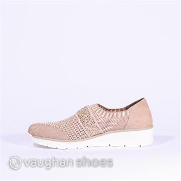 Rieker Knitted Slip On With Studded Band - Rose