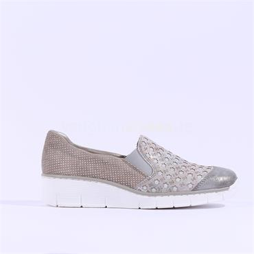 Rieker Space Perforated Slip On Wege - Metallic