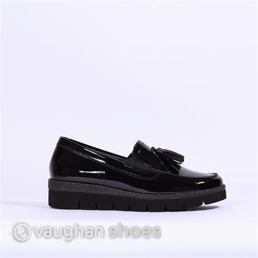 Gabor Platform Loafer With Tassell Hush - Black Pat Lea