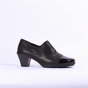 Rieker Luxor Block Heel Fleece Lined - Black Combi