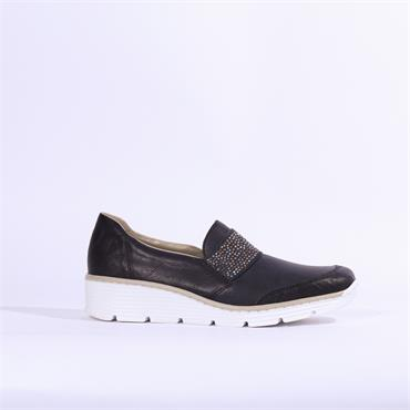 Rieker Eagle Studded Band Slip On Wedge - Navy