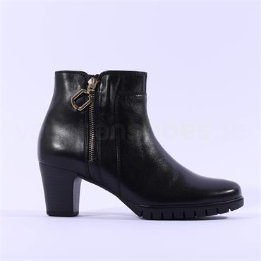 Gabor Block Heel Gold Zip Boot Hero - Black Leather