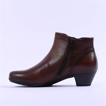Gabor Heritage Low Block Heel Boot - Tan Leather