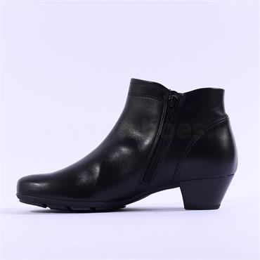 Gabor Heritage Low Block Heel Boot - Navy Leather