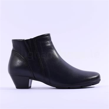 Gabor Heritage Low Block Heel Boot - Black Leather