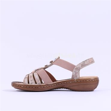 Rieker Elasticated Sandal Jewel Detail - Rose