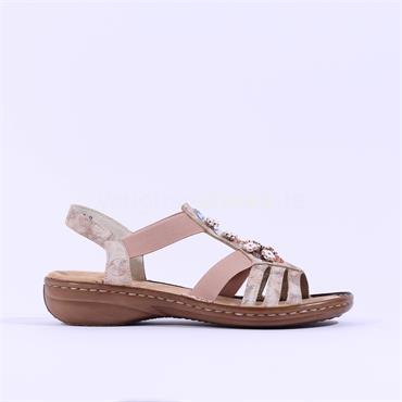 Rieker Elasticated Sandal Jewel Detail - Rose