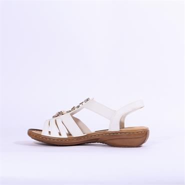 Rieker Elasticated Sandal Jewel Detail - White
