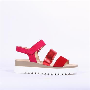 Gabor Platform Strappy Sandal Billie - Red Pink Combi