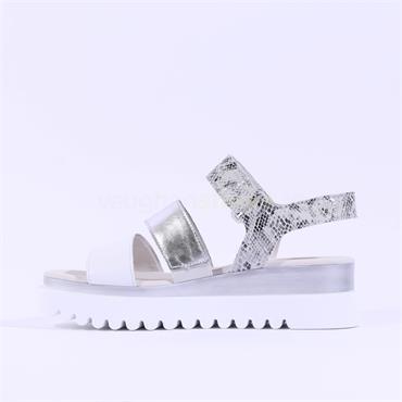Gabor Platform Strappy Sandal Billie - Silver Snake