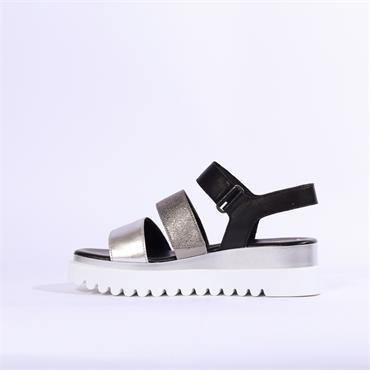 Gabor Platform Strappy Sandal Billie - Black Silver