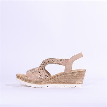 Rieker Wedge Sandal Diamante Detail - Rose