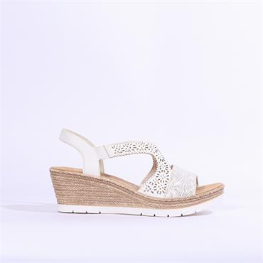 Rieker Wedge Sandal Diamante Detail - White Silver