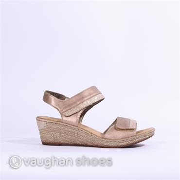 Rieker Wedge 2 Velcro Strap Sandal - Rose Combi