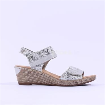 Rieker Wedge Sandal 2 Velcro Strap - Silver Grey