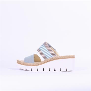 Gabor Mule Wedge Strap Sandal Contest - Blue Combi