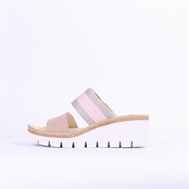 Gabor Mule Wedge Strap Sandal Contest - Pink Combi