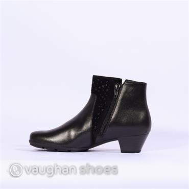 Gabor Low Heel Boot Panel Detail Brady - Black
