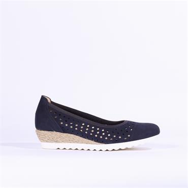 Gabor Perforated Weaved Wedge Evelyn - Navy Nubuck