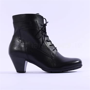 Gabor National Lace Block Heel Boot - Black