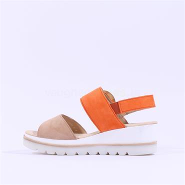 Gabor Buckle Strap Wedge Sandal Yeo - Orange Beige