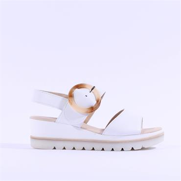 Gabor Buckle Strap Wedge Sandal Yeo - White Leather