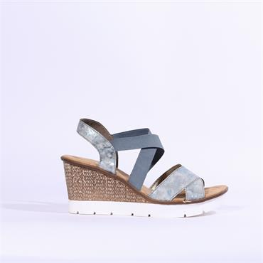Rieker Elasticated Strappy Wedge - Blue Combination