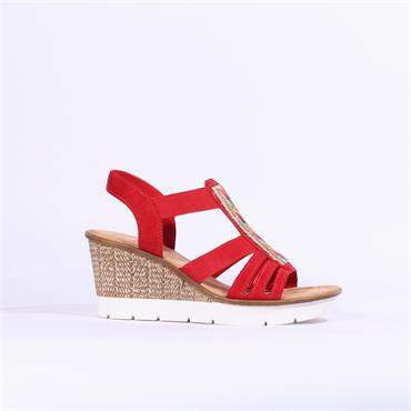 Rieker Elasticated Wedge Diamante Panel - Red Multi