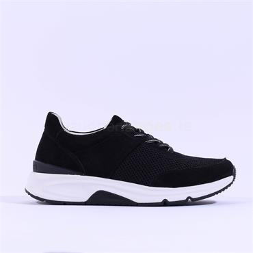 Gabor Rolling Soft Aloe Laced Trainer - Black Fabric