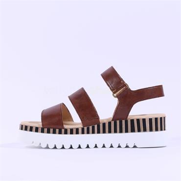 Gabor Platform Strappy Sandal Billie - Tan Leather