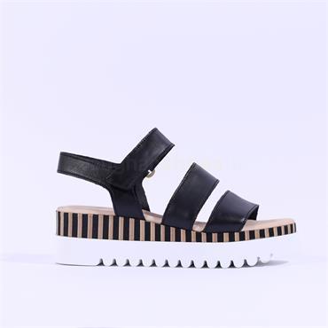 Gabor Platform Strappy Sandal Billie - Black Leather