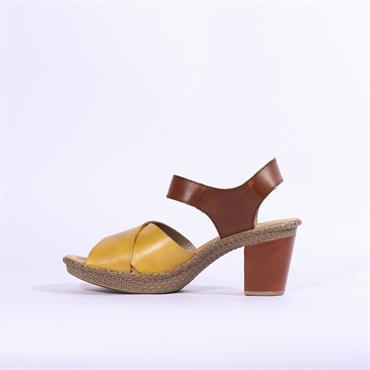 Rieker Platform Block Heel Cristallino - Yellow Brown