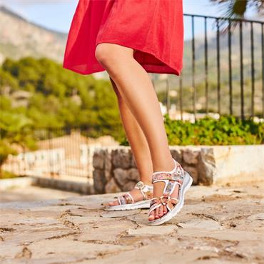 Rieker Comfort Sandal Velcro Strap - Multi