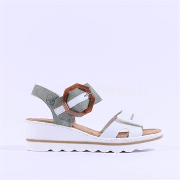 Rieker 2 Velcro Strap Wedge Sandal - White Green