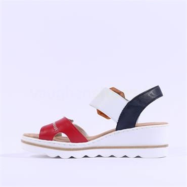 Rieker 2 Velcro Strap Wedge Sandal - White Red Navy