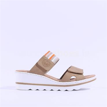 Rieker 2 Velcro Strap Wedge Mule - Sand Orange