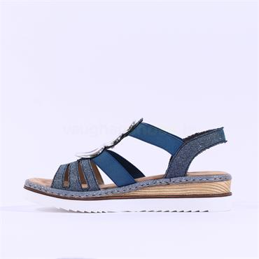 Rieker Disco Strappy T Bar Sandal - Blue