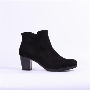 Gabor Amusing Stitch Detail Ankle Boot - Black Suede