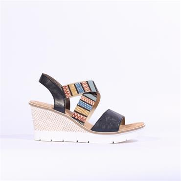 Rieker Cris Cross Elasticated Wedge - Navy Multi