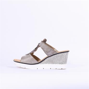 Rieker Wedge Mule With 2 Velcro Straps - Grey Combi