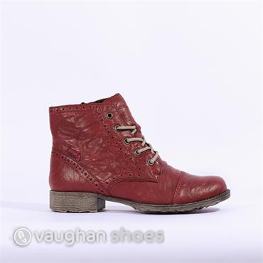 Rieker Lace Ankle Boot With Toecap - Wine