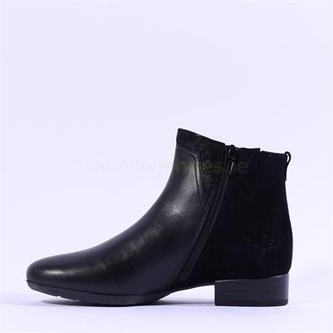Gabor Breck Suede Heel Flat Ankle Boot - Black Combi