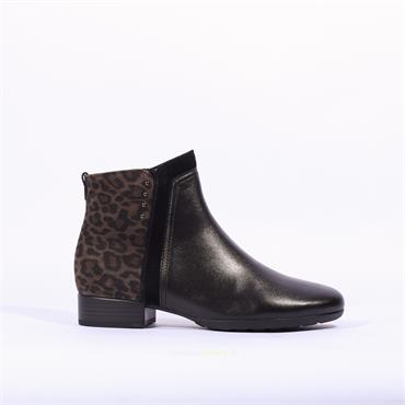 Gabor Breck Flat Ankle Boot Print Heel - Black Leopard
