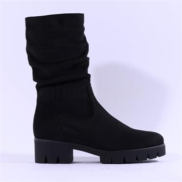 Gabor Barbados Cleated Mid Calf Boot - Black Suede