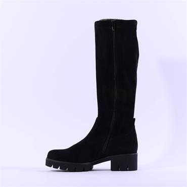 Gabor Baku Knee High Cleated Sole Boot - Black Suede