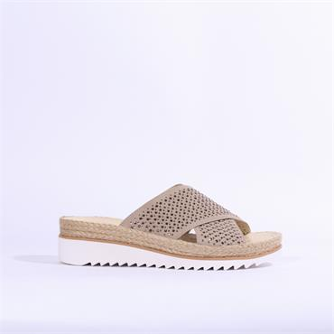 Gabor Gaze Mule Sandal Diamante Studs - Taupe
