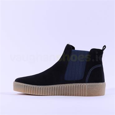 Gabor Platform Ankle Boot Gusset Lourdes - Black Blue