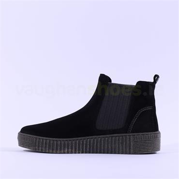 Gabor Platform Ankle Boot Gusset Lourdes - Black Grey Suede
