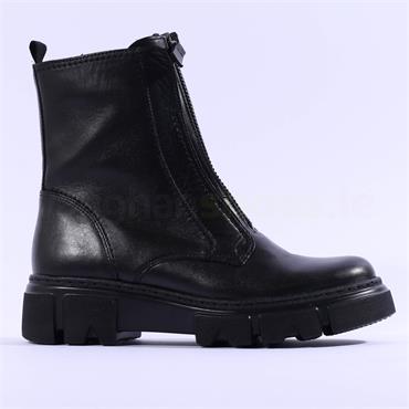 Gabor Joy Front Zip Biker Combat Boot - Black Leather